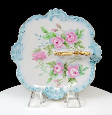 "French Porcelain Blue Embossed Scalloped Rim Pink Roses 6 1/2"" Handled Mint Dish"