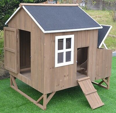 """Large 47"""" Deluxe Solid wood Hen Chicken Cage House Coop Huge with nesting box"""
