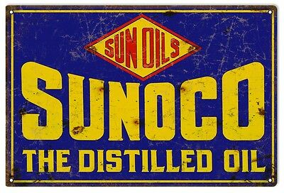 """Reproduction Sunoco Distilled Oil Metal Sign 12""""x18"""""""