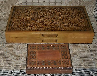 2 x VINTAGE PRIMITIVE POLISH HAND CARVED / POKERWORK HINGED WOODEN BOXES
