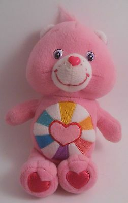 "Care Bears Hopeful Heart Bear 8"" Bean Bag Plush EUC 2005 Pink"