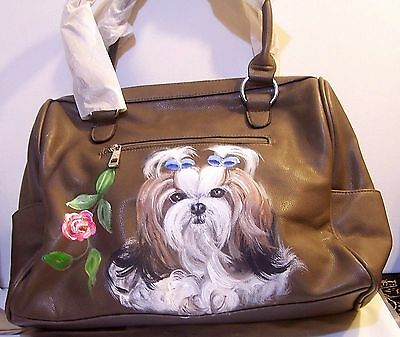 Shih Tzu Hand painted TWO PAINTINGS FRONT AND BACK  original fine art handbag