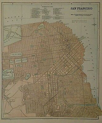Antique Original 1898 Map of San Francisco