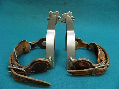 Nice Good Pair Of August Buermann - Star Steel Sikver- Western Cowboy Spurs