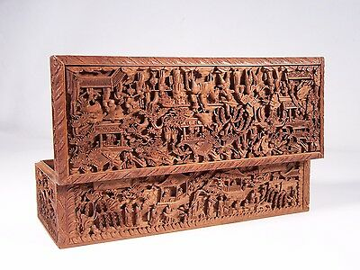 19C Chinese Export Sandalwood Box Exquisitely Carved W Imperial Court Procession