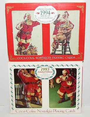 1993 & 1994 Coca-Cola Santa Christmas Playing Cards in Tins, Sealed Decks