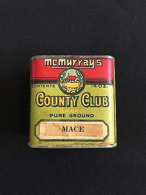 Antique Vintage McMurray's Country Club Mace Spice Tin