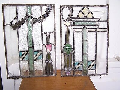 BEAUTIFUL Lot OF 2 Antique Leaded Glass Window Panels CLARENCE NEW YORK REPAIR