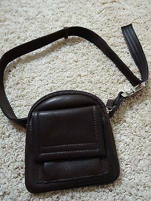 Brown Leather Waist/Fanny Pack -  Wallet - Adjustable