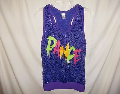 "Girls WEISSMAN Size CL L Tank Top Shirt Purple Sequins ""DANCE"""