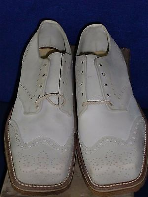 Real Vintage 40'S Mens New White Wingtip Shoes Star Brand Sz 7 Oxford New In Box