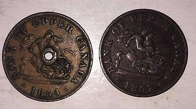 1857 And 1854 (Holed) Bank Of Upper Canada Half Penny Tokens
