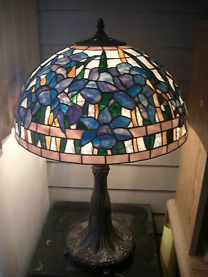 """VINTAGE TIFFANY STYLE STAINED GLASS FLORAL LAMP SHADE & BASE 29"""" Tall 16 """" Wide"""