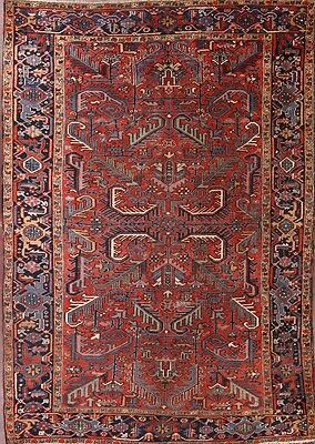 Antique All-Over Pattern Geometric 7x10 Heriz Serapi Persian Oriental Area Rug