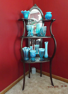 3 Shelf Victorian Mirrored Etagere What Not Shelf Stand Curio Display Antique