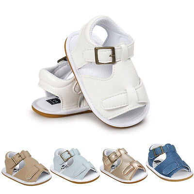 Summer Baby Boy Girl Sandals PU Leather Anti-Slip Crib Shoes Soft Sole Prewalker
