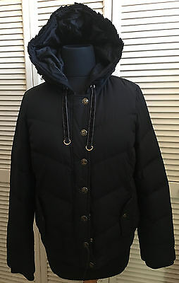 Juicy Couture Women's Hooded Down Puffer Jacket Coat Large Excellent!