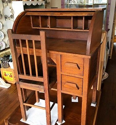 Vintage Oak Child's Rolltop Desk and Chair