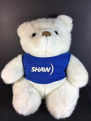 "SHAW CABLE White Bear with Blue Vest - Advertising Plush Toy Mascot - 14"" Tall"