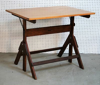 1950's vintage SAXON deluxe DRAFTING TABLE solid maple OAK BASE very clean NICE