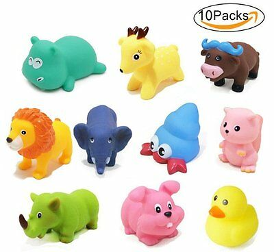 Baby Bath Toys 10 PCs Soft Rubber Animals Toys Kids Water Toys Squeeze Sound Spr