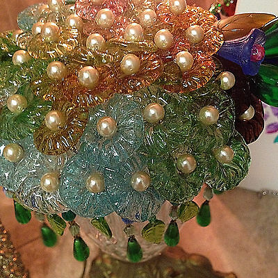 Antique vintage Old Czech Murano Art Glass Flower Grape Lamp Shade and  Lamp
