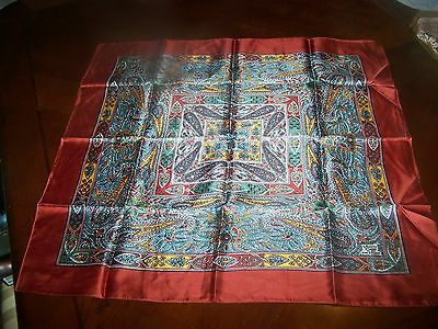 Vintage Liberty of London 100% Silk Scarf. 22 By 22, Red Border Paisley Print
