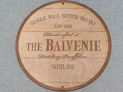 """The Balvenie Scotch Whisky 12"""" Round Wood Sign barrel Top style"""
