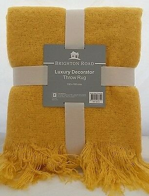 Super Soft throw decorator rug blanket 6 Colours RRP $69.95 Yellow