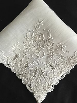 Beautiful Vintage White Wedding Hanky With Embroidery