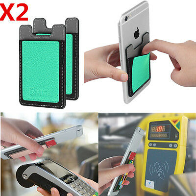 2 Pack Self Adhesive Credit Card Holder Stick On Card Wallet Case For iPhone 7