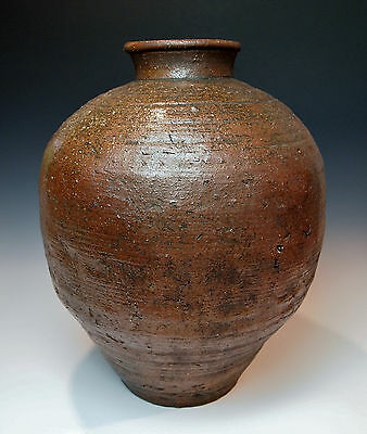 "MAGNIFICENT ANTIQUE JAPANESE TEA JAR Large 16"" Chatsubo Edo Pottery Chado Mingei"