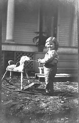Postcard, Real Photo, child with hobby horse
