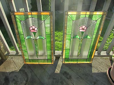 Vint 1920's 30's Chicago Stained Leaded Glass Window SET of 2 ready to hang