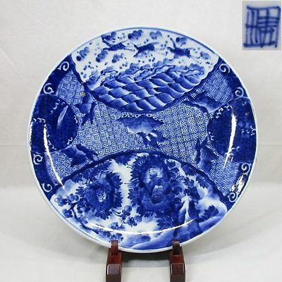 D210: Japanese OLD IMARI blue-and-white porcelain BIG plate with good painting