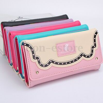 Women Clutch Long Purse Leather Wallet Lady Bird Heart Card Holder Handbag Bag