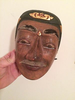 Vintage Face Mask Large Eyes Moustache Wooden Old Retro Collectable India