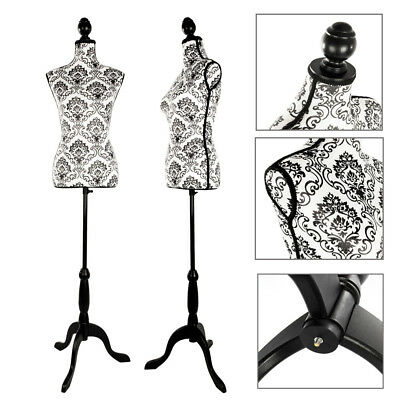 Female Mannequin Torso Dress Form Clothing Display W/Black Tripod Stand Black