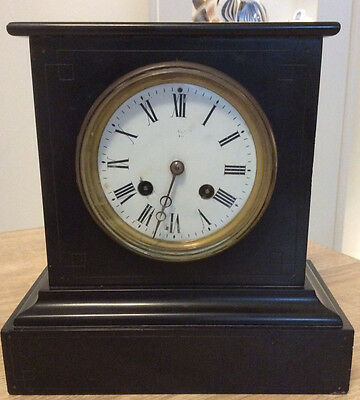 Victorian Slate Mantle Clock With Enamelled Face