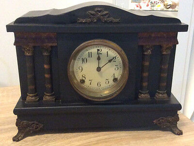 Sessions Ebonised Mantle Clock With Columns