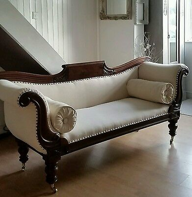 Antique Victorian Sofa Scroll Arm 19th Century , Free  Delivery Within 50 miles!