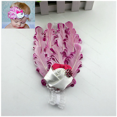 Infant Toddler Kid Baby Girl Feather Lace Headband Bow Band Hair Accessories