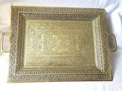 Large Antique Persian, Islamic,indian Brass Tray. Embossed, Chasing Decoration.