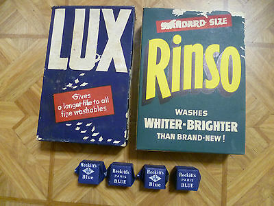 Vintage Rinso & Lux unopened laundry powder boxes, 4x Reckitts blue unopened