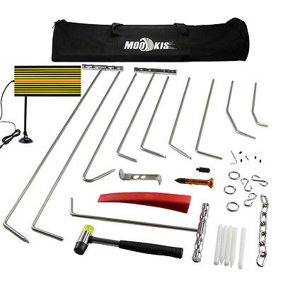 PDR Push Rods Paintless Hail Puller Removal Dent Repair Kits LED Line Board Tool