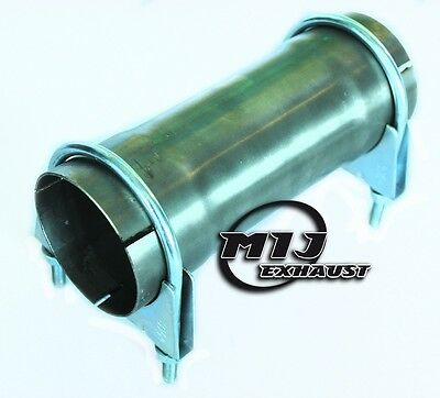 "2.5"" 64mm Stainless Exhaust Pipe 200mm Long Connector Sleeve Joiner + 2x Clamps"