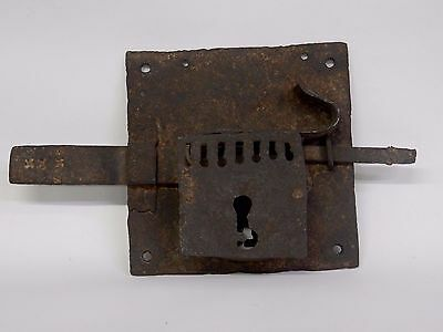 ANTIQUE LOCK ONLY, A HAND FORGED WROUGHT IRON LARGE vintage door piece