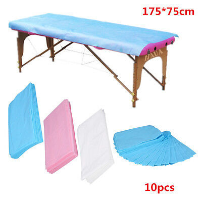 10PCS Waterproof Disposable Nonwoven Bed Sheet Massage Table Cover 175*75cm ES
