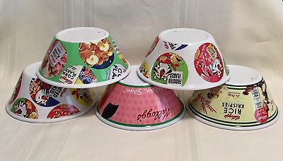 5 VINTAGE Kellogg's Cereal Bowls, TOUCAN SAM, TONY THE TIGER, CORN FLAKES,