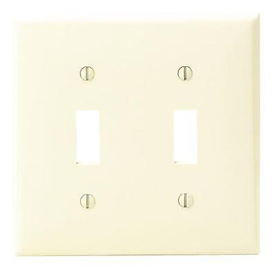 25 Pk Leviton Ivory Nylon Double Switch 2 Gang Wall Plate Cover 001-80709-00I